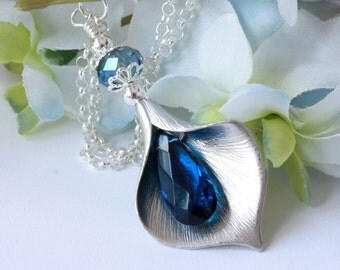 Blue Calla Lily Necklace, Pendant Necklace, Chain Necklace, Crystal Necklace, Bridal Jewelry, Birthstone, Holiday Necklace, Gifts for Her
