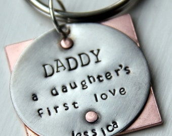 SALE Daddy Gift - Fathers Day Gift - Daddy Valentine - Daddy a Daughters First Love - Daddy Keychain - Daddys Girl - Son's First Hero - Dadd