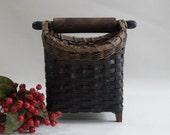 Rolling Pin Basket / Recipe Card Basket / Handwoven Basket-Primitive Style