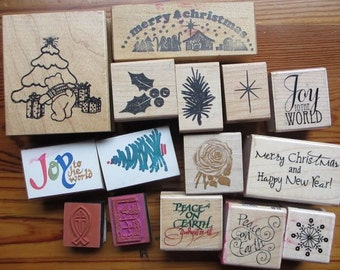 Destash vtg and newer rubber stamp lot / Christmas Holiday craft supply / All Night Media / Stampabilities / Posh Impressions