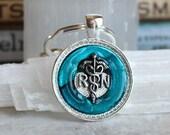 blue nurse keychain, registered nurse, rn keychain, nurse gift, graduation gift, medical keychain, birthday gift, medical keychain, caduceus
