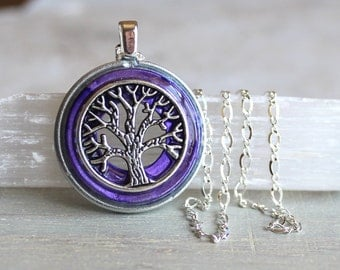 purple tree of life necklace, unique gift, celtic jewelry, elven jewelry, nature necklace, oak tree, wiccan jewelry, fantasy jewelry