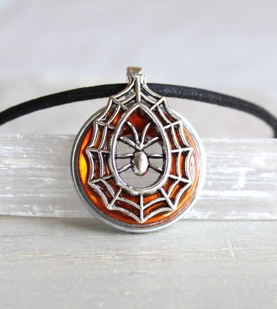 orange spider necklace, spider jewelry, halloween costume, halloween jewelry, halloween necklace, halloween gift, spider web, goth jewelry