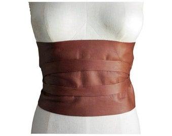 Leather Corset Belt Wide Leather Belt Tobacco Dark Brown Black Underbust Rustic Boho Corset Belt Raw Edge Small Medium Large