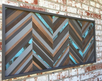 Modern Wood Sculpture Wall Art - Chevron - 18 x 42