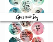 30 mm, Goodnight Moon, Boho, Moon, Handlettered, Quotes,Digital Collage Sheet- Printable images- Instant download