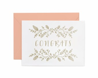 Letterpress Printed Congrats greeting card in Gold Ink with Peach Envelope