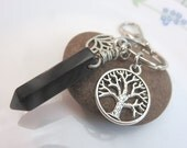 black onyx keychain - black gemstone keyring - point crystal keychain - Tree of life keychain lotus flower silver with swivel clasp