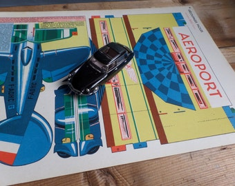 Vintage FRENCH 1950s cut out and make an airport and plane lovely decorating print