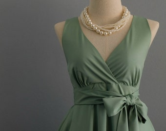 Sage green dress green party dress green sundress vintage dress style sage green bridesmaid dresses solid bridesmaid dresses V neck dress