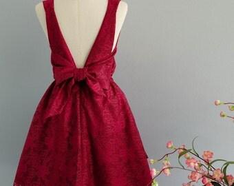 Red dress red lace dress red party dress red prom dress red cocktail dress bow back dress red bridesmaid dresses burgundy backless dress
