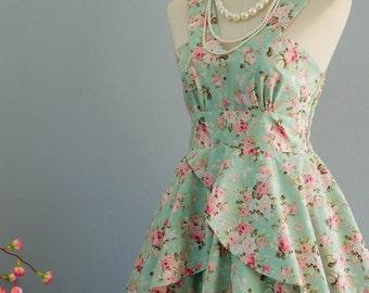 Roses Petal - Summer's Whisper Collection Spring Summer Sundress Mint Green Floral Party Dress Wedding Bridesmaid Dresses Floral Dress XS-XL