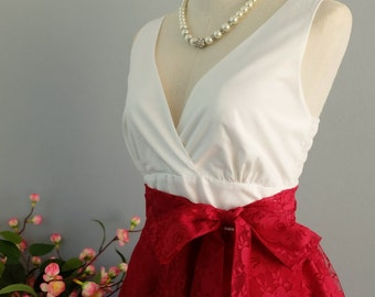 My lady II - Spring Summer Sundress White Top Ruby Lace Dress Red Lace Bridesmaid Dress Red Lace Party Dress Ruby Lace Tea Dress XS-XL