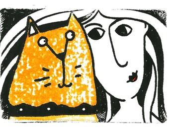 Marmalady - original ginger Tom cat print, black Tom cat art print, lady and cat etching print, gifts for cat lovers, ginger cat unframed