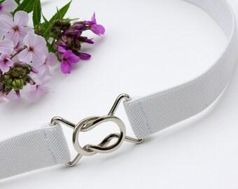 Skinny white elastic waist belt with interlocking clasp - plus and regular sizes