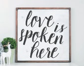 Love Is Spoken Here Wood Sign, Home Decor Cedar Frame Wood Sign, Rustic Home Decor, Wall Art, Handpainted Sign, Farmhouse Sign, Wall Decor