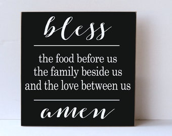 Farmhouse Wood Sign, Kitchen Wall Art, Farmhouse Rustic Style, Bless Food, Kitchen Prayer, Rustic Wood Sign, Kitchen Wood Sign, Dining Room