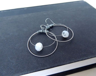 Guitar String Earrings - silver hoop earrings - teens and adults - eco-friendly/upcycled jewelry - under 25.00