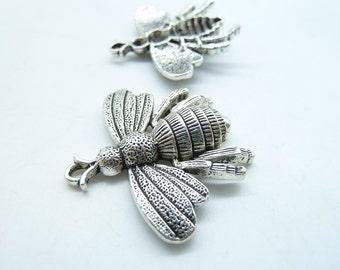 5pcs 35x40mm Antique Silver  Huge Bee Honeybee Charm Pendant c5192