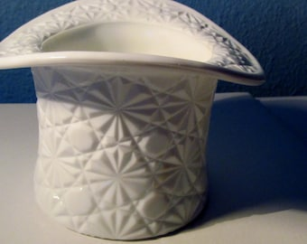 COUPON SALE 20% OFF Vintage Extra Large Daisy and Buttons Pattern White Milk Glass Top Hat