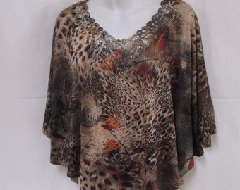 Animal Print Poncho, Cape, One Size