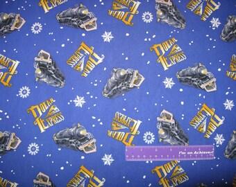 THE POLAR EXPRESS Movie Logo Snowflake Train Toss Cotton Fabric By The Half Yard