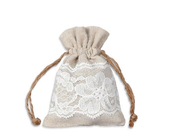 Linen and Lace - Lace Bags - 3X4 - 12 Natural Linen Gift Bags - Special Occasion Bags