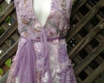 """20% OFF bohemian gypsy lagenlook vintage shabby vest with ruffles of lace..medium to 38"""" bust...."""