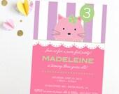 Kitten Birthday Invitation - Cats Birthday Invitation - I love cats - Kitty Cat Birthday Party - Printable or Printed Invitations