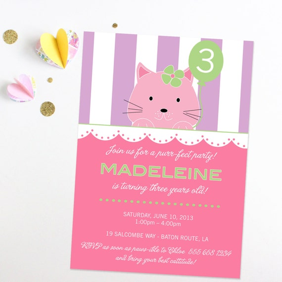 Kitten Birthday Invitation - Cats Birthday Invitation - I love cats - Kitty Cat Birthday Party - Printable or Printed Invitations