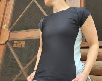 Side Stripe Swim Shirt modest swim shirt with Cap Sleeve