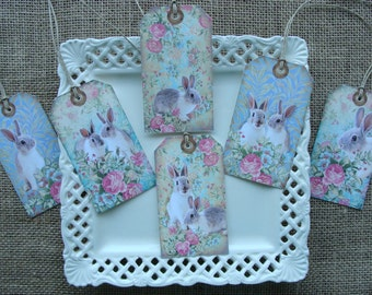 Gift Tags - EASTER - Vintage Floral Bunnies - EA18