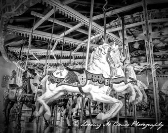 carousel art photo, vintage carnival, carousel horses black and white photograph, Balboa Park San Diego