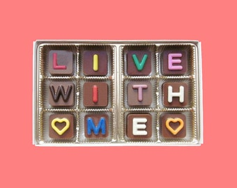 Girlfriend Gift for Her Love Gift for Boyfriend Funny Proposal Idea Romantic Valentines Gift Live With Me Jelly Bean Chocolate Cube Letters