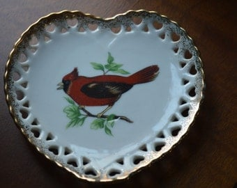 Cardinal Heart Shaped Wall Plate-Pin Dish-Trinket Dish