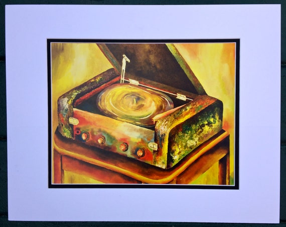 Colorful Surreal record player painting PRINT