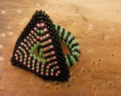 Romantic Ring Triangle Wedding ring - Bridal Black Pink Green 8.5-12.5  flexible  Valentine's day