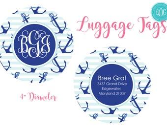 Personalized Luggage Tag, Women's Monogrammed Bag Tag, Nautical Bag Tag, Large Bag Tag, Gym Bag Tag, Personalized Gift, Monogrammed Gift