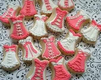 Corset cookies - MINI bustier cookies - lingerie cookies - bachelorette cookies - 2 dozen decorated cookies