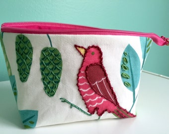 Hand Embroidered Embellished Zippered Flat Bottom Knitting Project Pouch Bag Tote Small Size Bird