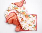 Floral baby blanket - FLORAL - girls minky blanket -  Papaya Mint Olive Green