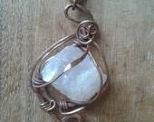 Rose quartz pendant in copper. Ooak natural crystal pendant.