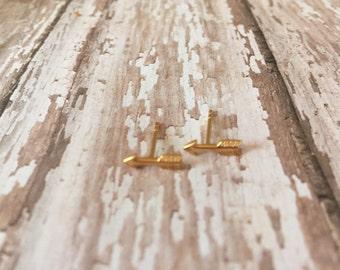 Gold Arrow Stud Earrings, Gold Arrow Earrings, Arrow Stud Earrings, Arrow Earrings, 14K Gold Filled