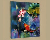 ORIGINAL Painting Mixed Media painting ORIGINAL SILK Painting Fish Pond Lotus Painting  Handpainted Silk Wall Art