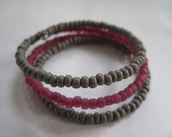 Grey/Matte Fuschia Memory Wire Bracelet