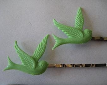 2-Mint Bird Barrettes