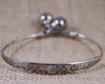 "Sterling Silver Chinese Baby Toddler Child ""Match Ones Wishes"" Bangle Bracelet with Bells"