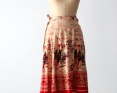 70s wrap skirt, boho skirt with Geisha print, block print India cotton