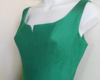 1960s GREEN cotton full length formal dress / union label/ mint / wedding/ red carpet/