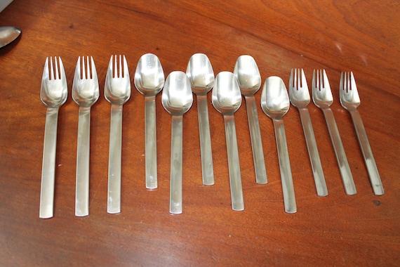 Yamazaki vintage old flatware stainless silverware set - Yamazaki stainless steel flatware ...